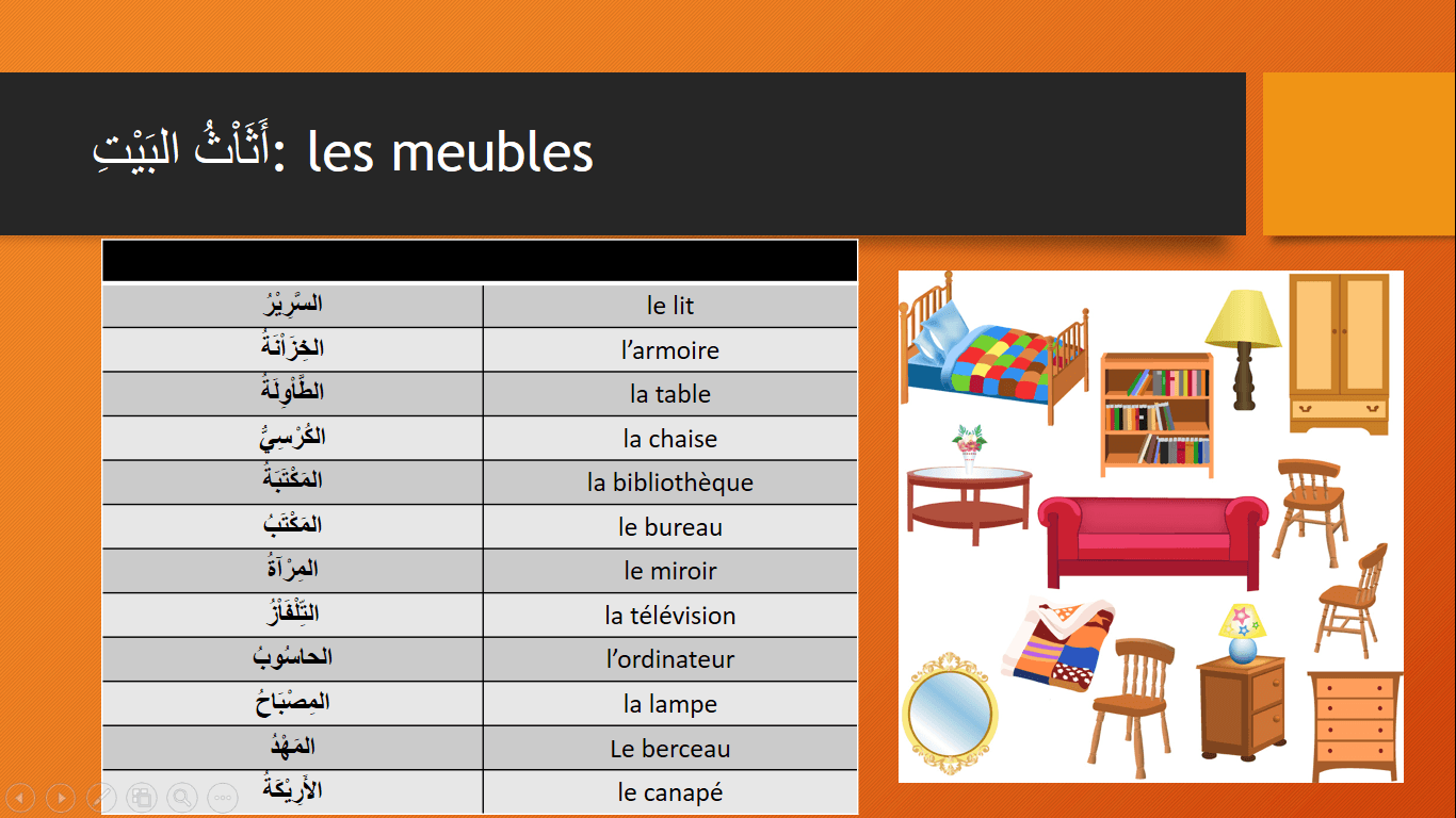 Vocabulaire arabe en pdf et mp3 t l charger gratuitement for Meubles de la maison