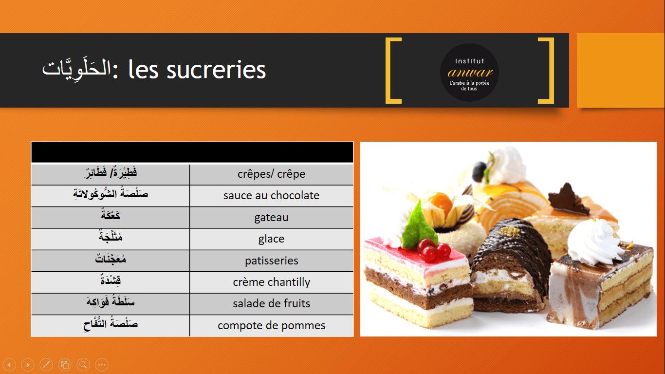 les sucreries en arabe