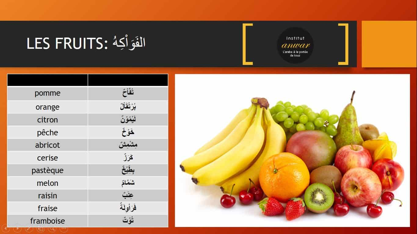 Les fruits et légume en arabe PDF fruit arabe