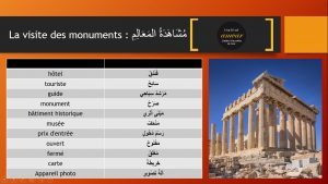 vocabulaire du tourisme en arabe