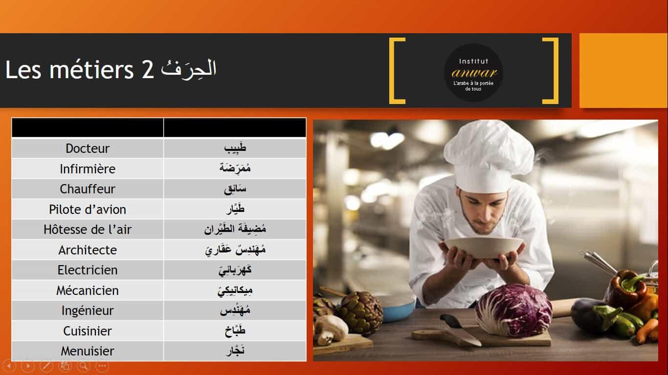 métiers en arabe 1
